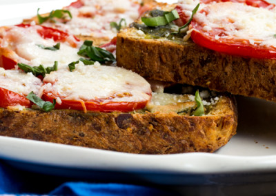 Open Faced Toasted Caprese Sandwich